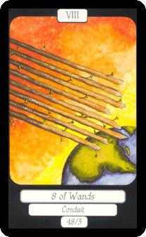 Eight of Rods Tarot Card - Merry Day Tarot Deck