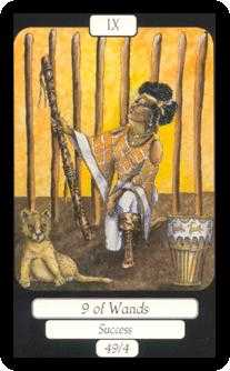 Nine of Staves Tarot Card - Merry Day Tarot Deck