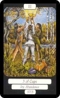 Three of Bowls Tarot Card - Merry Day Tarot Deck