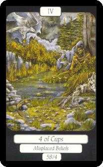Four of Ghosts Tarot Card - Merry Day Tarot Deck