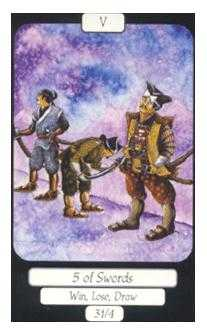 Five of Bats Tarot Card - Merry Day Tarot Deck