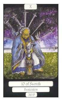 Ten of Arrows Tarot Card - Merry Day Tarot Deck
