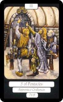 Three of Discs Tarot Card - Merry Day Tarot Deck