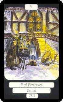 Five of Coins Tarot Card - Merry Day Tarot Deck