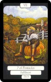 Seven of Pentacles Tarot Card - Merry Day Tarot Deck