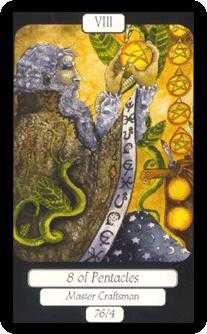 Eight of Coins Tarot Card - Merry Day Tarot Deck