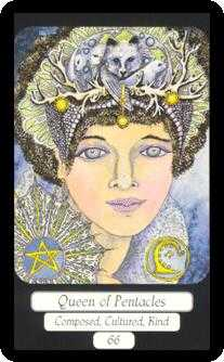 Queen of Coins Tarot Card - Merry Day Tarot Deck