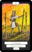 Three of Wands Tarot card in Merry Day Tarot deck