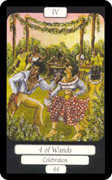 Four of Wands Tarot card in Merry Day deck