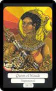 Queen of Wands Tarot card in Merry Day deck