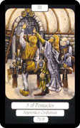 Three of Coins Tarot card in Merry Day deck