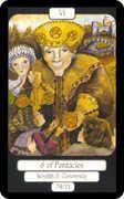 Six of Coins Tarot card in Merry Day Tarot deck