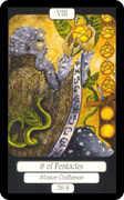 Eight of Coins Tarot card in Merry Day Tarot deck