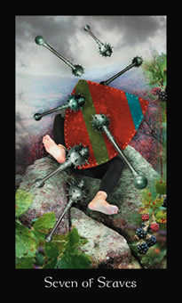 Seven of Rods Tarot Card - Modern Medieval Tarot Deck