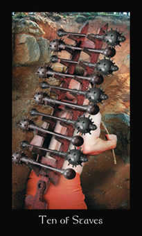 Ten of Pipes Tarot Card - Modern Medieval Tarot Deck