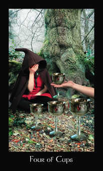Four of Cauldrons Tarot Card - Modern Medieval Tarot Deck
