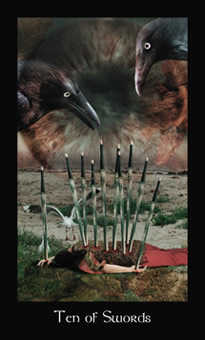 Ten of Arrows Tarot Card - Modern Medieval Tarot Deck