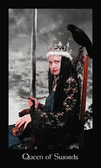 Queen of Arrows Tarot Card - Modern Medieval Tarot Deck