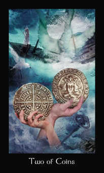 Two of Pentacles Tarot Card - Modern Medieval Tarot Deck