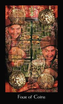 Four of Coins Tarot Card - Modern Medieval Tarot Deck
