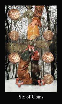 Six of Coins Tarot Card - Modern Medieval Tarot Deck