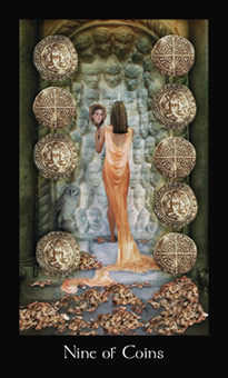Nine of Coins Tarot Card - Modern Medieval Tarot Deck
