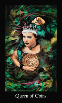 Queen of Coins Tarot Card - Modern Medieval Tarot Deck