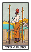 Two of Wands Tarot card in Modern Witch deck