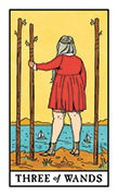 Three of Wands Tarot card in Modern Witch deck