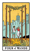 Four of Wands Tarot card in Modern Witch deck