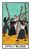 Five of Wands Tarot card in Modern Witch deck