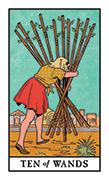 Ten of Wands Tarot card in Modern Witch deck
