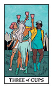 Three of Cups Tarot card in Modern Witch deck