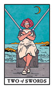 Two of Swords Tarot card in Modern Witch deck