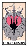 Three of Swords Tarot card in Modern Witch deck