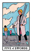 Five of Swords Tarot card in Modern Witch deck