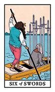 Six of Swords Tarot card in Modern Witch deck