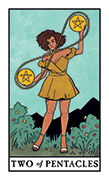 Two of Pentacles Tarot card in Modern Witch deck