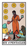 Six of Pentacles Tarot card in Modern Witch deck