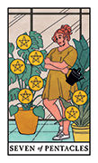 Seven of Pentacles Tarot card in Modern Witch deck