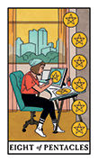 Eight of Pentacles Tarot card in Modern Witch deck
