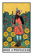Nine of Pentacles Tarot card in Modern Witch deck