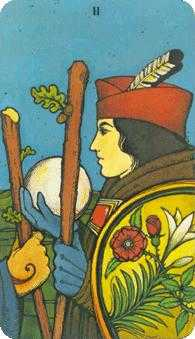 Two of Rods Tarot Card - Morgan-Greer Tarot Deck