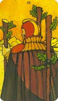 Three of Pipes Tarot Card - Morgan-Greer Tarot Deck