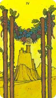 Four of Rods Tarot Card - Morgan-Greer Tarot Deck
