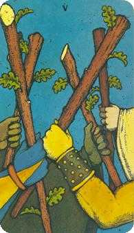 Five of Rods Tarot Card - Morgan-Greer Tarot Deck