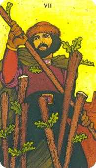 Seven of Rods Tarot Card - Morgan-Greer Tarot Deck