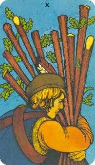Ten of Rods Tarot Card - Morgan-Greer Tarot Deck