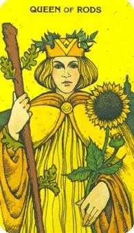 Queen of Rods Tarot Card - Morgan-Greer Tarot Deck