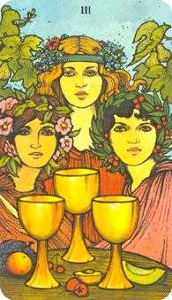 Three of Cups Tarot Card - Morgan-Greer Tarot Deck